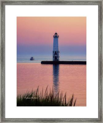 Framed Print featuring the photograph Frankfort Lighthouse by Joan Bertucci