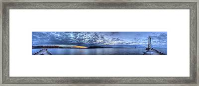 Frankfort Michigan Pier And Lighthouse Framed Print by Twenty Two North Photography