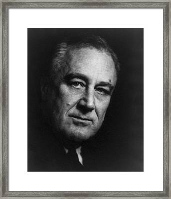 Framed Print featuring the photograph Franklin Delano Roosevelt  - President Of The United States Of America by International  Images