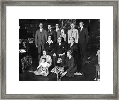 Franklin Roosevelt Family On Christmas Framed Print by Everett