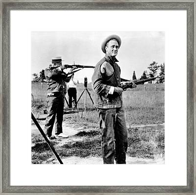 Franklin Roosevelt On A Rifle Range Framed Print by Everett