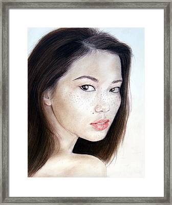 Freckle Faced Asian Model Framed Print by Jim Fitzpatrick