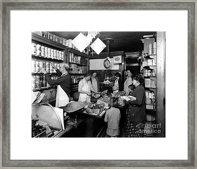 Fred Grovers Grocery Store Framed Print by Photo Researchers