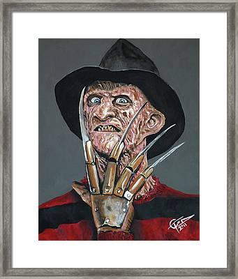 Freddy Kruger Framed Print by Tom Carlton