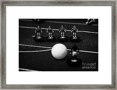 Free Kick Wall Of Players Football Soccer Scene Reinacted With Subbuteo Table Top Football  Framed Print by Joe Fox