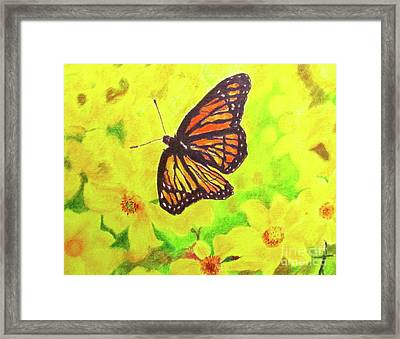 Framed Print featuring the drawing Free To Fly by Beth Saffer