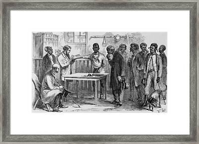 Freedmen At A Voter Registration Framed Print by Everett