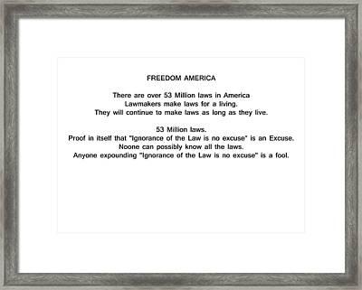 Freedom America Framed Print by Bruce Iorio