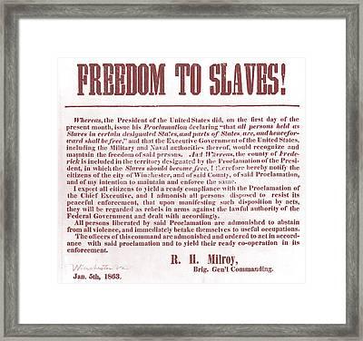 Freedom To Slaves Framed Print