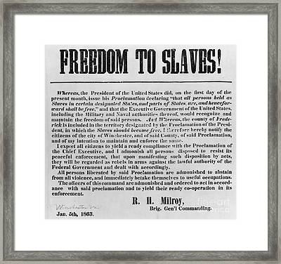Freedom To Slaves Framed Print by Photo Researchers