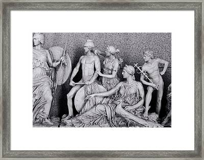 Freeze From Parthenon 3 Bw Framed Print
