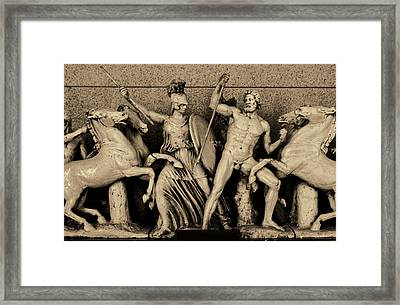 Freeze From The Parthernon 1 Sepia Framed Print