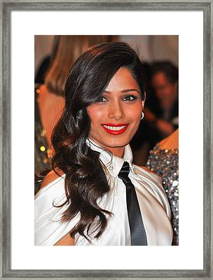 Freida Pinto At Arrivals For Alexander Framed Print by Everett