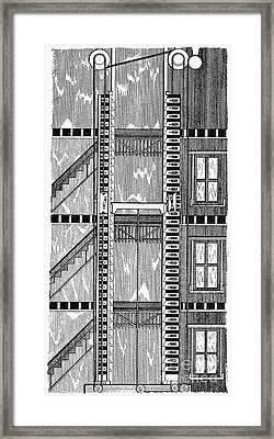 Freight Elevator, 1876 Framed Print