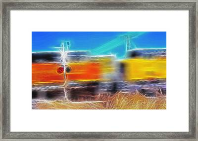 Freight Train At Railroad Crossing 2 Framed Print by Steve Ohlsen