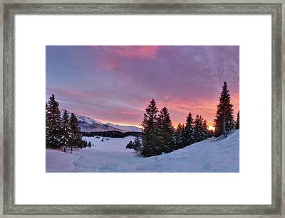 French Alps At Sunset Framed Print