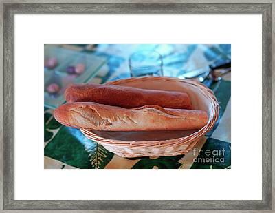 French Baguettes In Basket Framed Print by Sami Sarkis