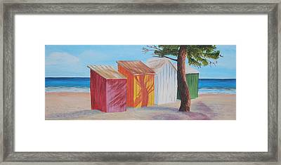 French Beach Huts Framed Print by Siobhan Lawson