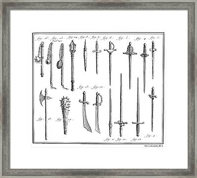French Chivalric Weapons Framed Print by Granger