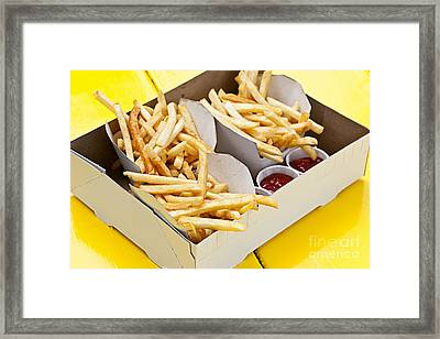 French Fries In Box Framed Print by Elena Elisseeva