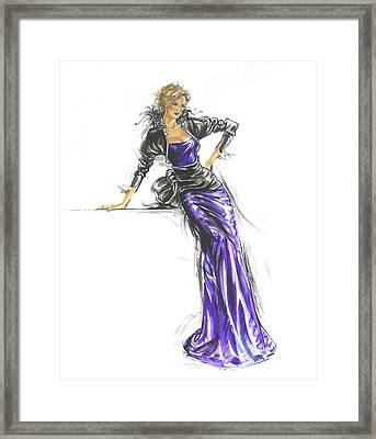 French Gown Fashion Illustration Framed Print by Sharon Barner