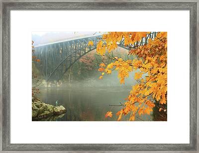French King Bridge Autumn Fisherman Framed Print by John Burk