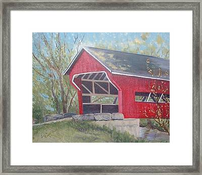 French Lick Covered Bridge Framed Print by Julie Cranfill