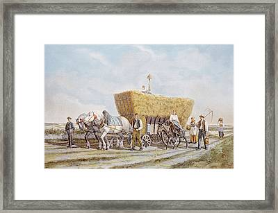 French Lithograph Of The Last Load Framed Print by Everett