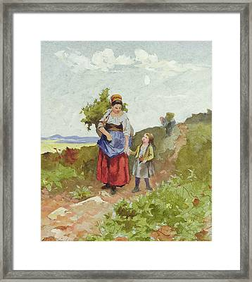 French Peasants On A Path Framed Print by Daniel Ridgway Knight