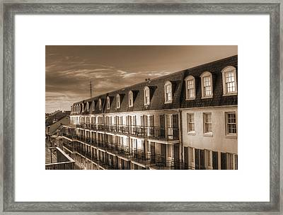 French Quarter Balconies Sepia Framed Print