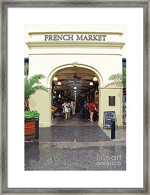 French Quarter French Market Entrance New Orleans Cutout  Digital Art Framed Print