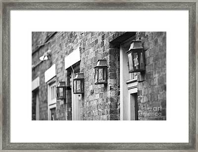 French Quarter Lamps Framed Print by Leslie Leda