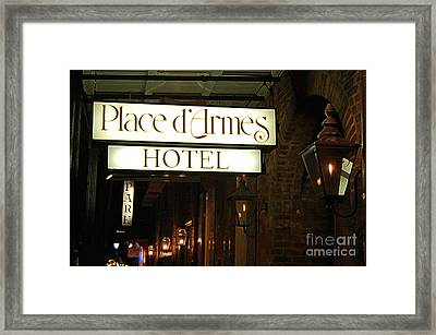 French Quarter Place Darmes Hotel Sign And Gas Lamps New Orleans Accented Edges Digital Art Framed Print