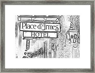 French Quarter Place Darmes Hotel Sign And Gas Lamps New Orleans Photocopy Digital Art Framed Print by Shawn O'Brien