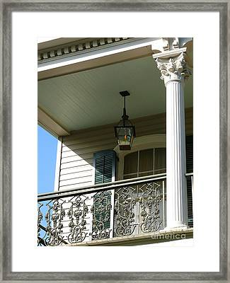 Framed Print featuring the photograph French Quarter Porch by Jeanne  Woods