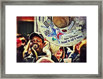 Framed Print featuring the photograph French Quarter Tuba Guy 1 by Jim Albritton