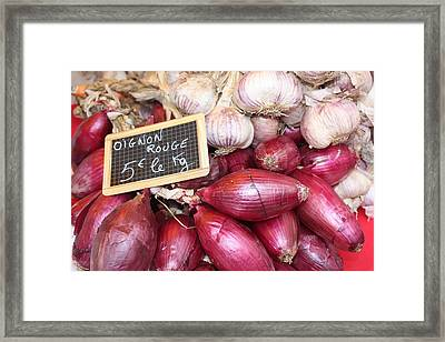 French Red Onions And Garlic Framed Print by Yvonne Ayoub