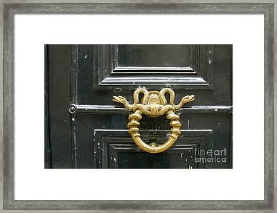 Framed Print featuring the photograph French Snake Doorknocker by Victoria Harrington