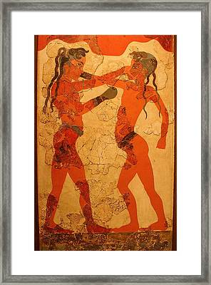 Fresco Of Boxing Children Framed Print