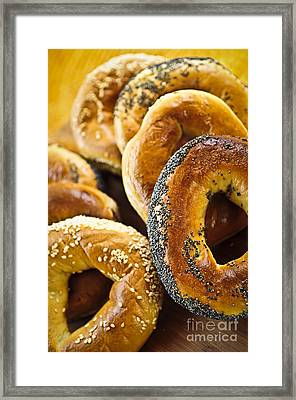 Fresh Bagels Framed Print by Elena Elisseeva