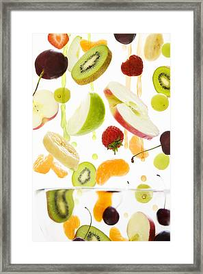 Fresh Mixed Fruit With Apple & Orange Juice Framed Print by Andrew Bret Wallis