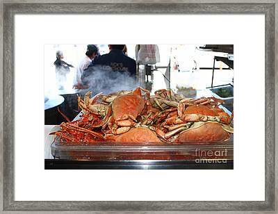 Freshly Cooked Steaming Hot Dungeness Crabs At Fishermans Wharf . San Francisco California . 7d14461 Framed Print by Wingsdomain Art and Photography