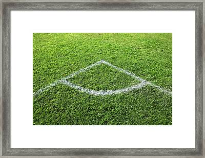 Freshly Painted Corner Area On Grass Framed Print by Richard Newstead