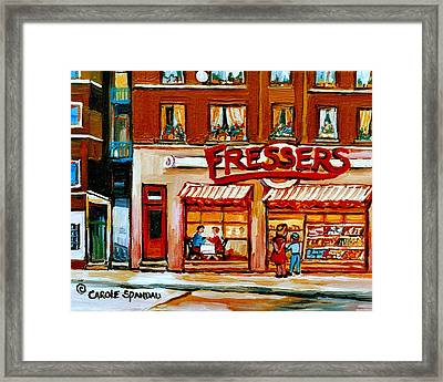 Fressers Deli Decarie Boulevard Montreal City Scenes Framed Print by Carole Spandau