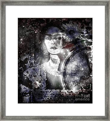 Frida In Black White Framed Print by Fania Simon