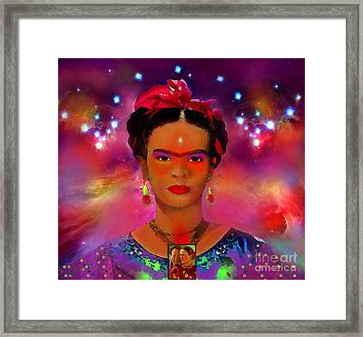 Frida In The Sky With Diamonds Framed Print by Mucha Kachidza