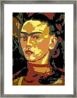Frida Kahlo - Courage Personified Framed Print by Angela L Walker