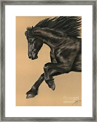 Framed Print featuring the painting Friesian Portrait by Sheri Gordon