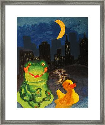 Frog And Duck Go To The Bog City By Way Of The Lake Framed Print