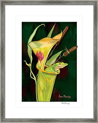Framed Print featuring the painting Frog In Green Pitcher Plant by Anne Beverley-Stamps